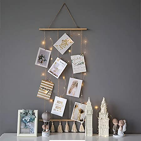 VAH Wooden Hanging Photo Display Picture Frame Collage Picture Display Organizer with Wood Clips LED Light for Wall Decor Hanging Photos (JRWH059)