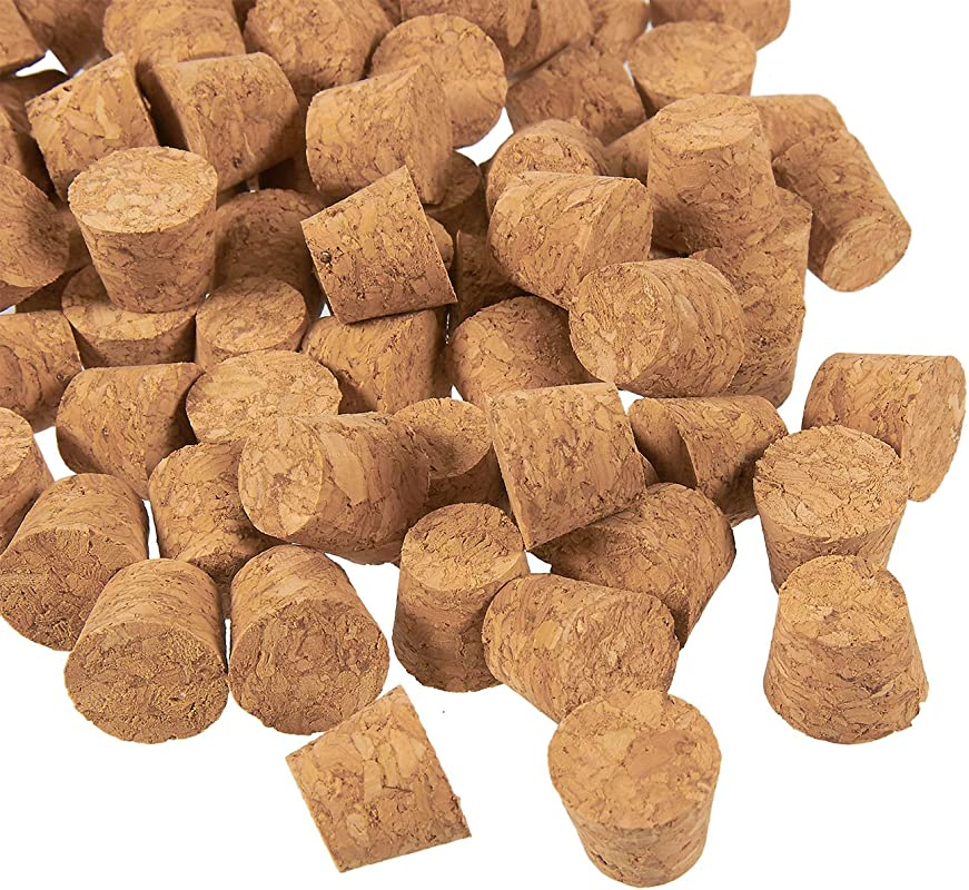 Small Cork Stoppers 100 Pack Mini Cork Stoppers Tapered Cork Bottle Plugs Size 1