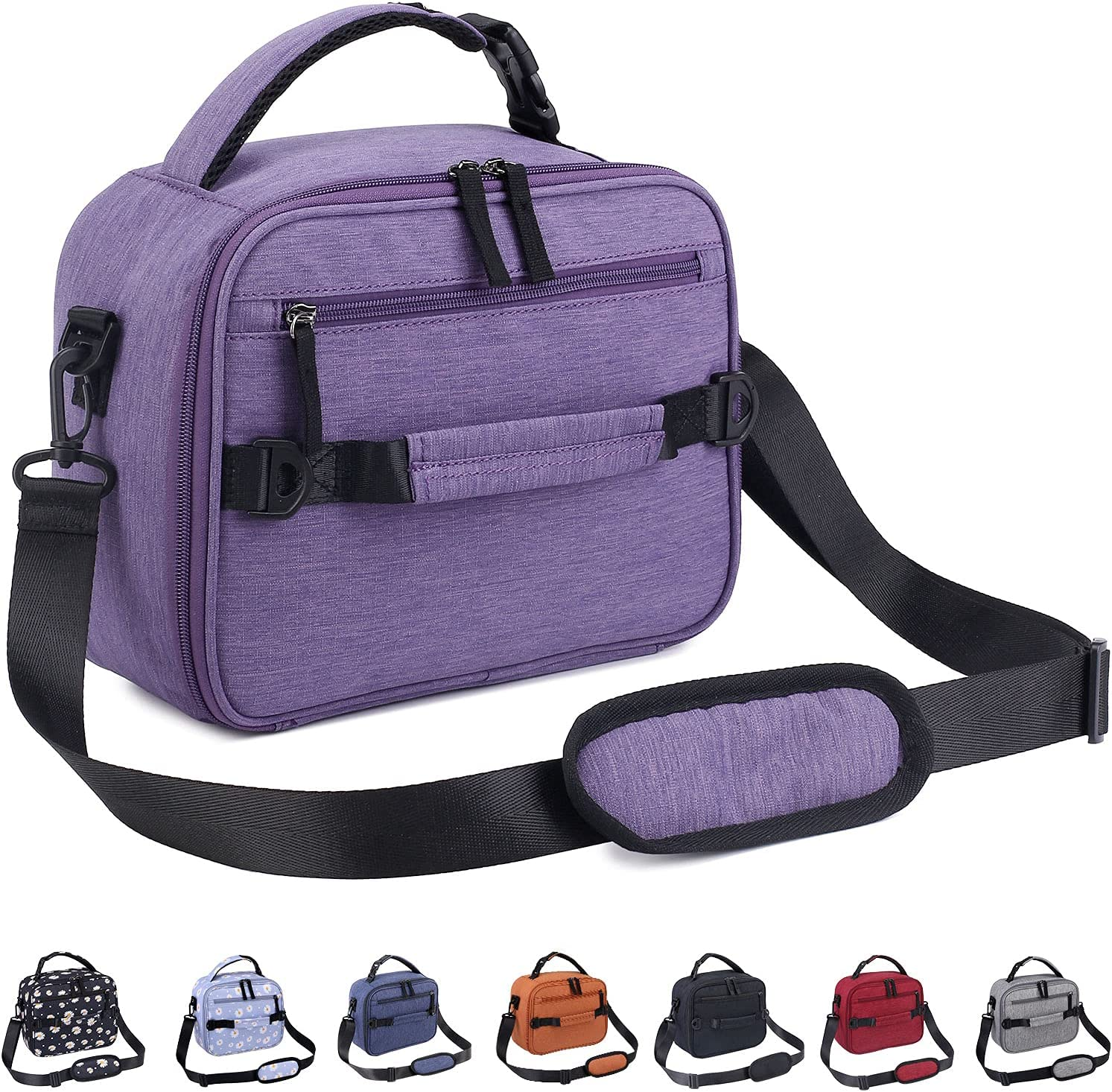 VENLING Insulated Lunch Bag for Work Lunch Box for Men Women Teen Reusable Lunch Bags with Shoulder Strap Adult Lunch Organizer Small Lunch Cooler Bag for Picnic Hiking Camping Beach, Purple
