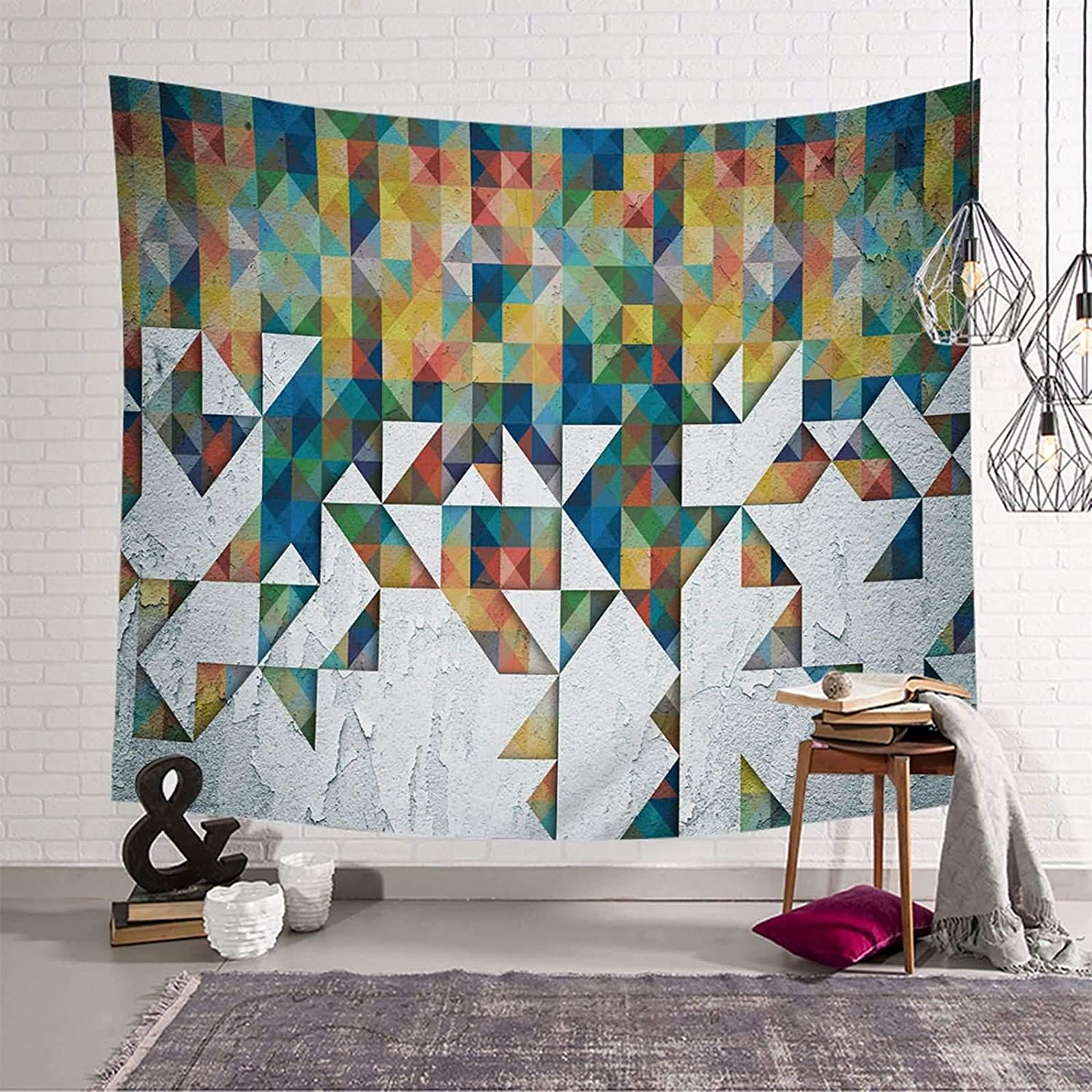 Gnzoe Dorm Tapestry Manufacturer direct delivery Decor Seasonal Wrap Introduction Polyester Colorful Fig Geometric Color