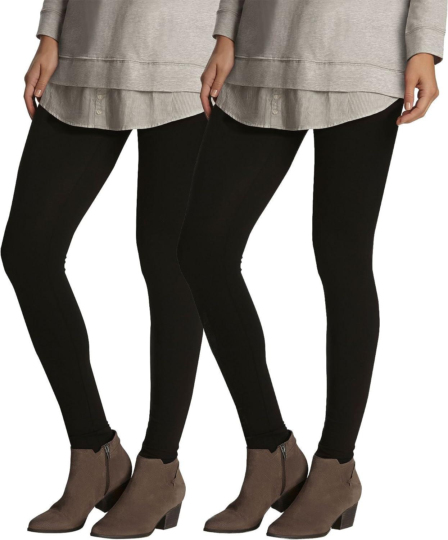 Felina Women's Lightweight Basic Cotton Leggings (Pack of 2)