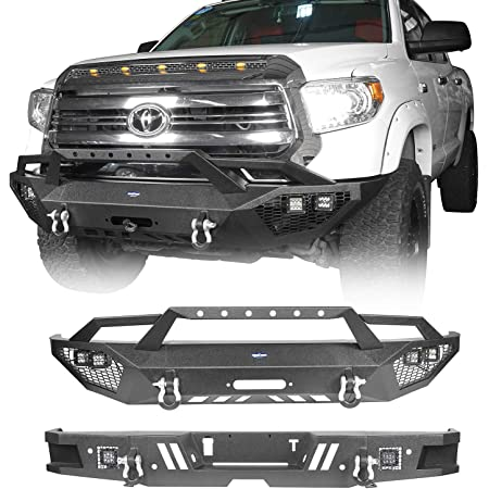 Hooke Road Tundra Front Bumper & Rear Step Bumper Combo Kit Compatible with Toyota Tundra 2014 2015 2016 2017 2018 2019 2020 2021 Pickup Truck