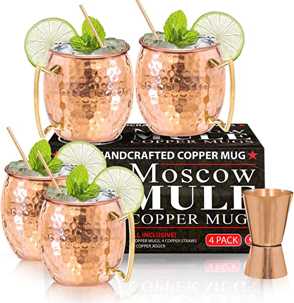 Moscow Mule Copper Mugs Set Of 4 100 HANDCRAFTED Food Safe Pure Solid Copper Mugs 16 Oz Gift Set With BONUS Highest Quality Cocktail Copper Straws And Jigger
