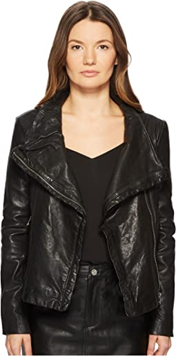 Talia-Veg Funnel Neck Leather Jacket