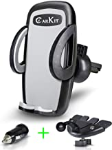 CarKit 2-in-1 Universal Cell Phone Holder For Car Air Vent/CD Slot & Bonus Car Charger Car Phone Holder Mount For iPhone X Xs Xs Max 8+ 8 Samsung Galaxy S10+ S10 S9+ S8+ S7 Edge and Other Smartphones