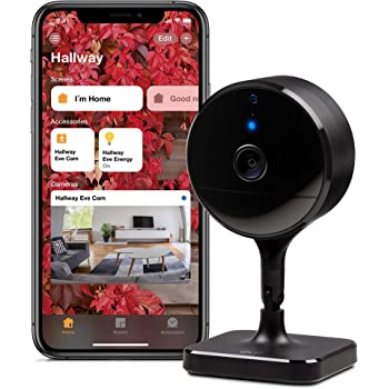 Eve Cam – Videocamera sicura per interni, privacy al 100%, funzione di Video sicuro di HomeKit, notifiche su iPhone/iPad/Apple Watch, sensore di movimento, microfono e altoparlante