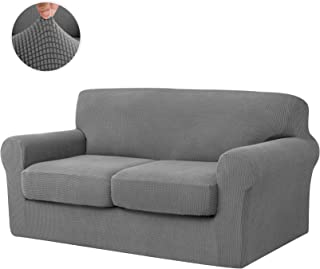CHUN YI 3-Piece Jacquard High Stretch Sofa Cover,IKEA Ektorp 2 Seater Separate Cushion Universal Sofa Slipcover Replacement Coat, Furniture Protector for Couch and Sleeper Sofa (Loveseat, Light Gray)