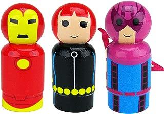 Bif Bang Pow! Marvel Classic Set of 3 Iron Man, Black Widow, Hawkeye Pin Mate Wooden Figure