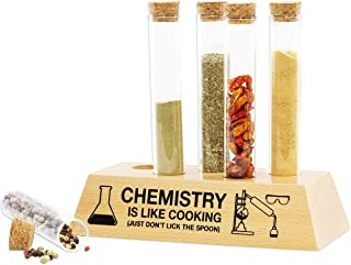 getDigital Chemistry Test Tubes Spice Rack Set - Science Kitchen Storage Containers for Spices and Herbs - 5 Glasses with Cork Stoppers and a Wooden Base