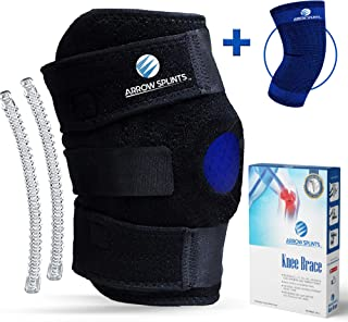 Arrow Splints Knee Brace for Meniscus Tear   Also for Arthritis, PCL, Tendonitis, ACL, MCL, Torn Ligament, LCL, Runners Knee   for Men & Women + Knee Compression Sleeve for Sport Injuries & Running