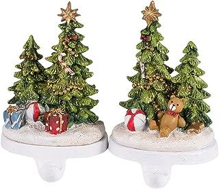 Glittered Holiday Tree Resin Stocking Holders - Set of 2