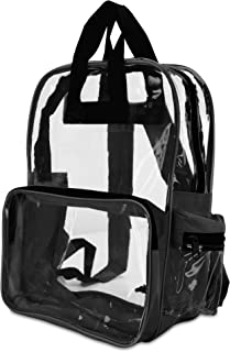 "DALIX 17"" Large Plastic Vinyl Clear Transparent School Security Backpack Black, Gray"
