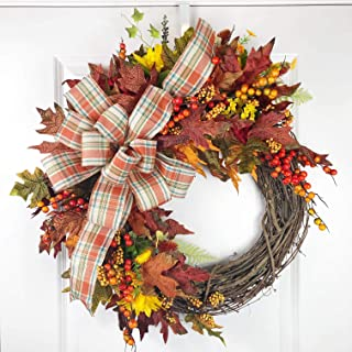 Fall Grapevine Wreath | Orange and Red Leaf | Wired Bow