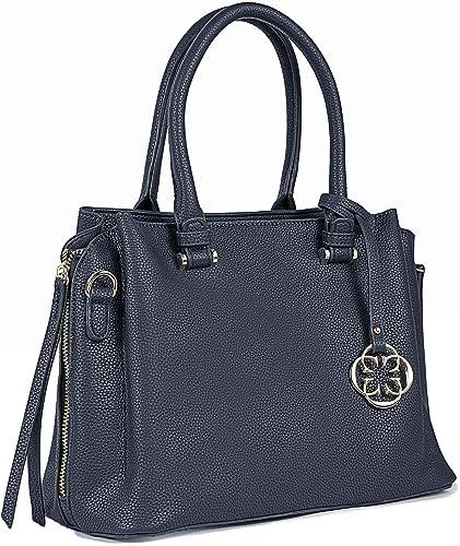Women s Front Zip Closure Double Handle Handbag Blue
