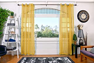 All American Collection New Plaid 2 Panel Sheer Curtain with Grommet 110