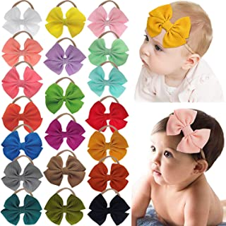 DeD 20 Pieces 4.5 Inch Nylon Super Stretchy Soft Bows Headbands, Newborn Infant Toddler Hairbands, and Baby Girl's Hair Ac...