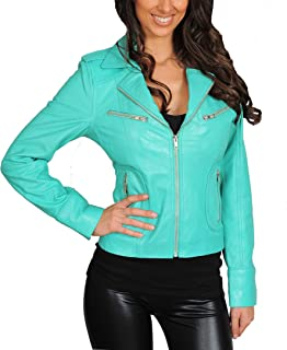 HOL Womens Real Lambskin Leather Biker Style Fitted Casual Jacket Kim Turquoise