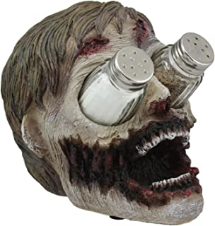 Ebros Gory Eyeless Walking Dead Zombie Head Salt And Pepper Shakers Holder Figurine Set 7.25