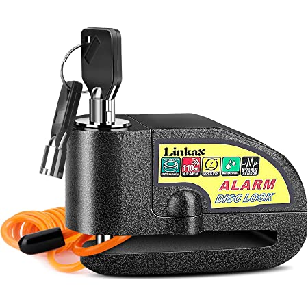 Linkax Candado Moto,110dB Alarma Antirrobo Candado de Disco de Moto con 1.5M Cable,Cerradura con Alarm,Alarm Lock para Motos Motocicletas Bicicletas(Negro)