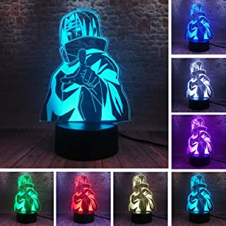 Naruto Kakashi Minato Uchiha Itachi Sasuke Night Light 7 Color Change Led Kids Bedside Action Figure Fixtures 3D Visual Anime USB Desk Touch Base with IR Control Lamp Boys Fans Man Child Xmas Toy Gift