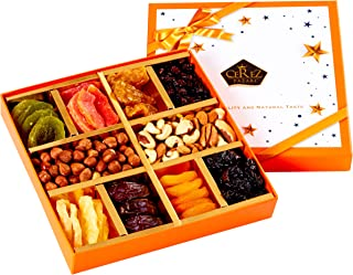 Cerez Pazari Dried Fruit and Nuts Gift Basket Orange Elegant Box 1.43Lbs 10 Variety Holiday Healthy Snack Holiday Gift Box