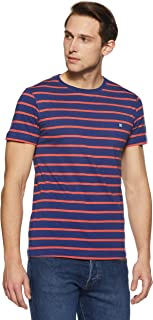 Something for Everyone Men's Casual Crew Neck Single Jersey with Striper Slim Fit T-Shirt