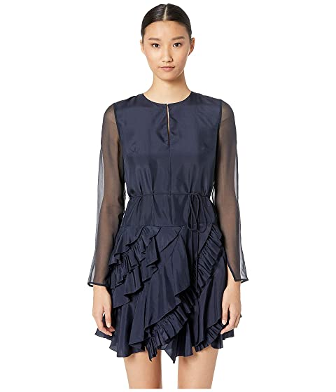 GREY Jason Wu Silk Crew Long Sleeve Ruffle Dress