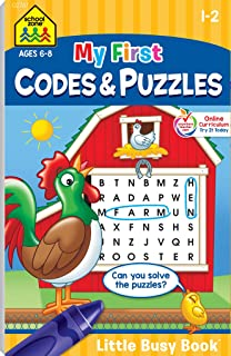 School Zone - My First Codes & Puzzles Workbook - Ages 6 to 8, 1st Grade, 2nd Grade, Activity Pad, Crossword Puzzles, Word...
