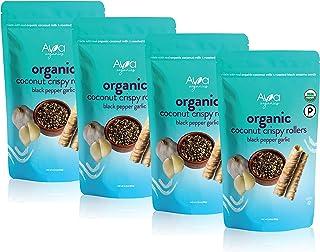 Ava Organics - Coconut Crispy Rollers - Black Pepper Garlic - Gluten Free - Baked Snack - Savory and Sweet - 2.82 oz (Pack...
