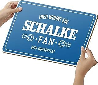Elbeffekt Fussball Schalke Schild aus Holz - personalisierbares Geschenk für Fans - opt. Beleuchtung - Wohnzimmer Deko - personalisierbar zum Hinstellen/Aufhängen - Schalke Geschenk - persönliches Geschenk