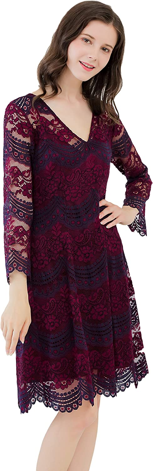 UP Ultrapink Missy Womens Two Tone Long Sleeve V Neck Lace Dress Lined