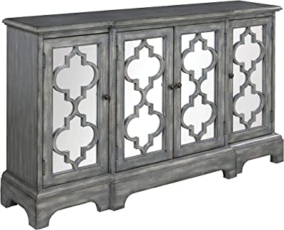 Amazon Com Heather Ann Creations 2 Door Accent Cabinet Console With Mirror Backed Carved Grille And Center Shelf 32 X 32 Black Silver Home Kitchen