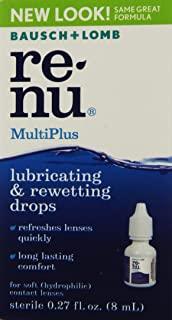 Bausch + Lomb ReNu MultiPlus Lubricating and Rewetting Soft Eye Contact Lens Drops, 0.27 Ounce Bottle (Pack of 24)