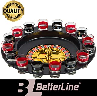 BETTERLINE Shot Glass Roulette Drinking Game Set for with Spinning Wheel, 2 Balls and 16 Shot Glasses - Casino Adult Party Games