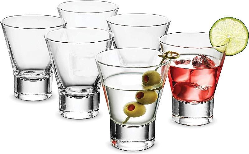 Bormioli Rocco YPSILON Cocktail Glasses Set 8 5 Oz Bar Glass 6 Pack Stemless Martini Glasses For All Alcoholic Beverages Like Margarita Manhattans Bourbon Vodka Lead Free Whiskey Glass