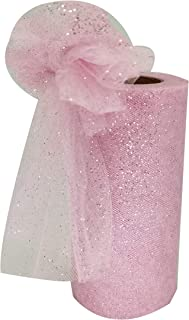 """Glitter Tulle Fabric Ribbon Rolls, 6 Inch by 25 Yards (75 feet) SparklingTulle Spool (6""""25Yards, Pink)"""