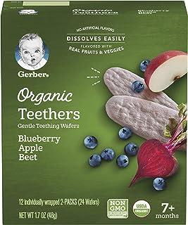 Gerber Organic Teethers, Blueberry Apple Beet, 1.7 oz, 12 count Box