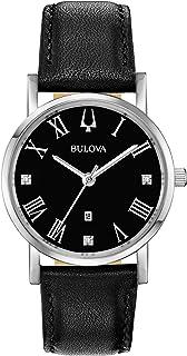 بولوفا للسيدات كواترز ستانلس ستيل وجلد - ساعة رسمية:- أسود (الموديل: 96P192)