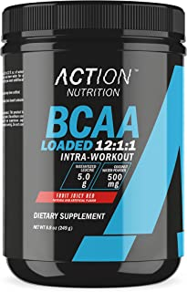 Action Nutrition BCAA Loaded - 12:1:1 Amino Acids Supplements - Intra Workout Muscle Recovery Powder Supplement Drink with Leucine and Coconut Water Powder - 30 Servings, Fruit Juicy Red
