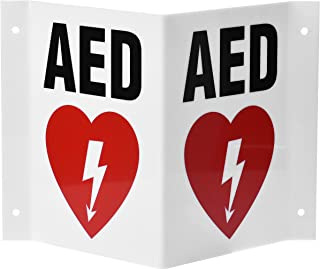 "AdirMed AED Locator 3D Sign - Industrial Grade 2 Sided Symbol Plastic - Easy Directions for Emergency Concerns for Office & Hospital 6"" x 5""."