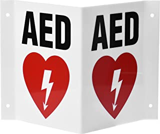 AdirMed AED Locator 3D Sign - Industrial Grade 2 Sided Symbol Plastic - Easy Directions for Emergency Concerns for Office & Hospital 6