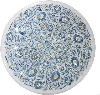 Gifts And Artefacts - Mesa de sofá con incrustaciones de piedras preciosas de madreperla (mármol), color blanco