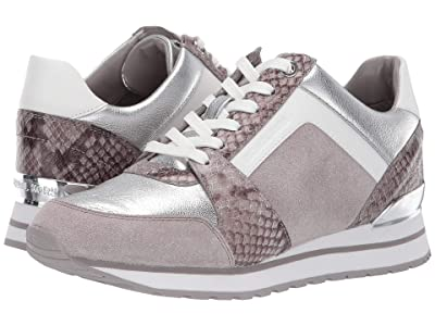 MICHAEL Michael Kors Billie Trainer (Pearl Grey Sport Suede/Embossed Printed Snake/Metallic Nappa) Women
