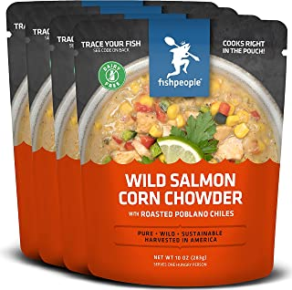 Fishpeople Wild Salmon Corn Chowder with Roasted Poblano Chiles, 10 ounce (4 pack), Microwaveable, Gluten-Free, Dairy-Free, 10g protein, Omega-3s, BPA-free, Ready to Eat Wild-Caught Sustainable
