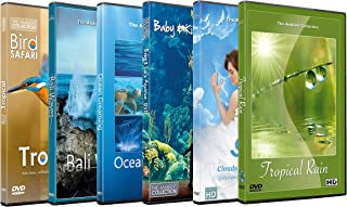 6 Disc Set Sleep Time DVD Combo Pack 2 - Fall Asleep Fast on these HD Videos with Bird, Rain, Ocean Waves Sounds for Relaxation