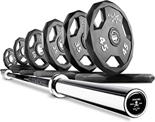 XMark Combo Offer Pair or Set of Black Diamond Premium Quality Rubber Coated Olympic Weight Plates with 7 ft Deadlift Voodoo Commercial Olympic Bar, 1500 lb Weight Capacity