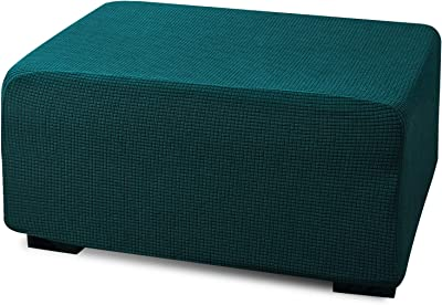 Argstar Jacquard Ottoman Covers Slipcover Rectangle for Living Room, Stretch Slipcover for Ottoman, Elastic Ottoman Slip Cover, Teal Folding Storage Stool Furniture Protector (X-Large, Dark Cyan)