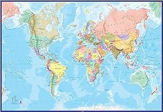 Mapamundi Mural Gigante - Azul oceánico