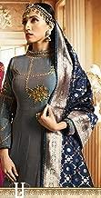 Shaded Blue Satin Silk Banarasi Silk Zari Dupatta Abaya Style Anarkali Salwar Suit Semi Stitched Indian 7548