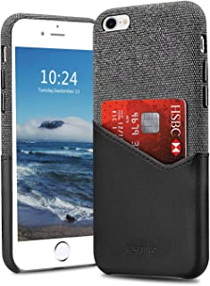 Bigphilo iPhone 7 Plus Case & iPhone 8 Plus Case with Card Holder, Mix Series Wallet Style Slim Cover, Soft-Touch Fabric with Vegan Leather Case for iPhone 7 Plus and iPhone 8 Plus - Black/Black